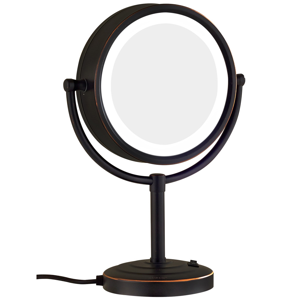 GURUN LED Makeup Mirror-10X Magnification,Rotatable Double Sided Mirrors, LED Lamp, Stand On Dressing Table Mirror M2208ORB alhakin 7 inch led table mirror silver chrome uv finish 10x magnification d710 makeup mirrors cosmetic beauty with ce approved