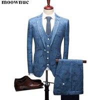 (Куртка + жилет + брюки) Новые мужские костюмы 2018 мужские модные цветочные костюмы с принтом Slim Fit Мужские льняные костюмы платье жениха для м