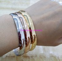 Ree Shipping 2015 New Stainless Steel Three Gold Rose Platinum Plated Bangle Sets Stainless Steel For