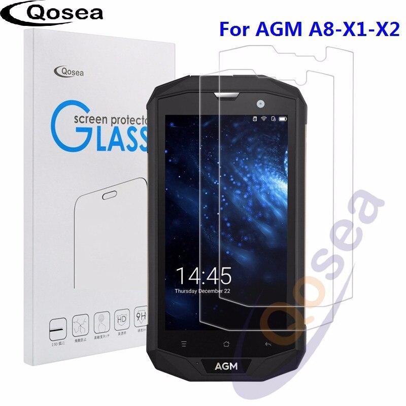 Qosea (2 PACK) pour AGM A8 verre trempé Ultra Clair 9 H film de protection Anti-Explosion Pour AGM A8 X1 X2 Téléphone protecteur d'écran