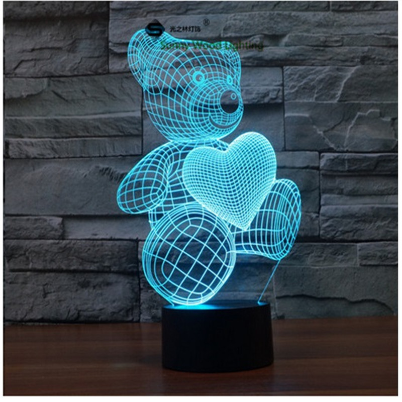 Love Bear touch switch LED 3D lamp ,Visual Illusion 7color changing 5V USB for laptop, desk decoration toy lamp