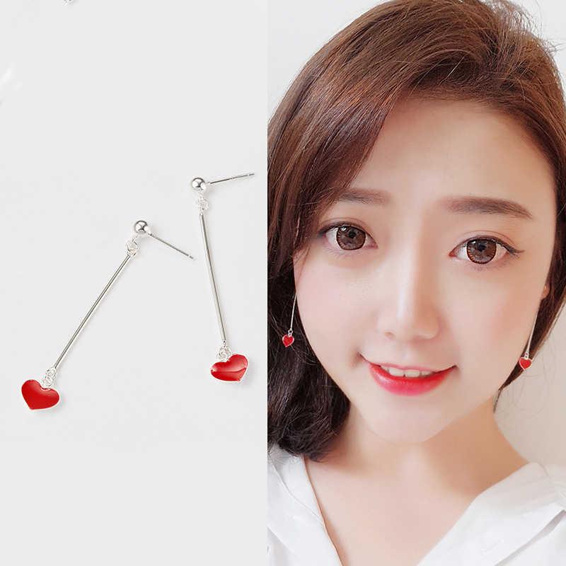 INZATT Rumbai Nyata 925 Sterling Silver Red Heart Menjuntai Drop Earrings Ear Jalur Fashion Wanita Aksesoris Perhiasan Untuk Kekasih Hadiah