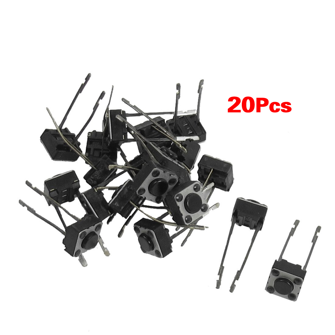 KSOL 20 Pcs 6x6x4mm Momentary Tactile Push Button Switch 2 Pin DIP Through ...