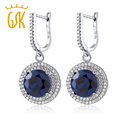 GemStoneKing 9.48 Ct Round Blue Simulated Sapphire Earrings For Women  Fashion Vintage 925 Sterling Silver Jewelry