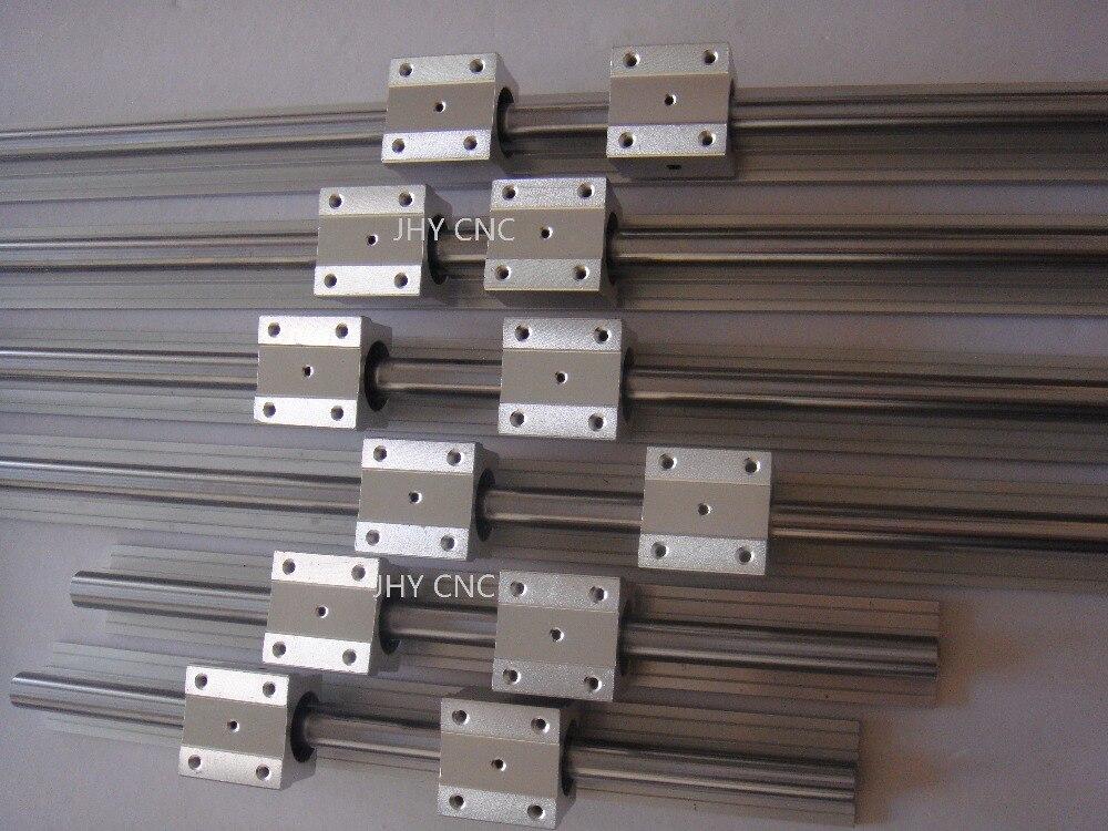 6 SBR20-400/800/1100mm 20 MM ENTIÈREMENT PRIS EN CHARGE LINEAR RAIL ARBRE ROD avec 12 SBR20UU