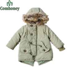 Children's Winter Jackets for Baby Boy Padded Parka Snowsuit Infant Overcoat Thick Coats Hooded Faux Fur Collar Kids Outerwear