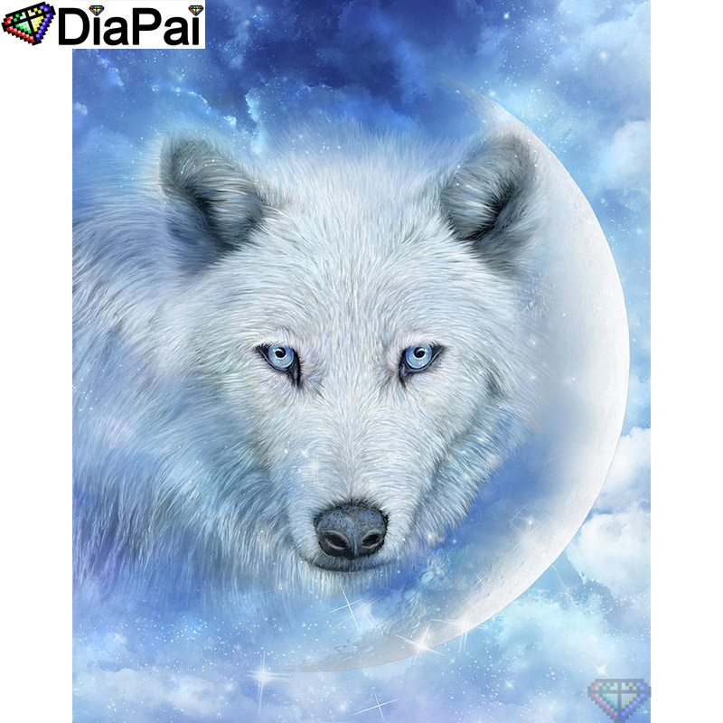 DIAPAI 5D DIY Diamond Painting 100 Full Square Round Drill quot Animal wolf moon quot Diamond Embroidery Cross Stitch 3D Decor A21892 in Diamond Painting Cross Stitch from Home amp Garden