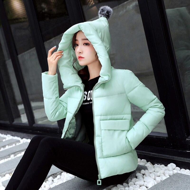 Katun Wanita Pendek Siswa Korea Lucu Mujer musim dingin Baru Gumpalan Jaket  Parka Hangat Warna Solid ded01f460d