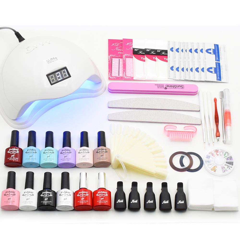 Nail Art Set Soak Off UV Gel Polish 10 colors Manicure set Curing LED Lamp dryer & base top Set nail gel nail tools kit lulaa 36w uv lamp of resurrection nail gel tools and portable package five 10 ml soaked uv glue gel nail polish
