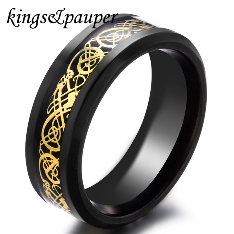 Fashion Stainless Steel Carbon Fiber Des Nibelungen Dragon Charms Rings Wicca Odin Rune Nordic Mythology Men Women Jewelry Gift