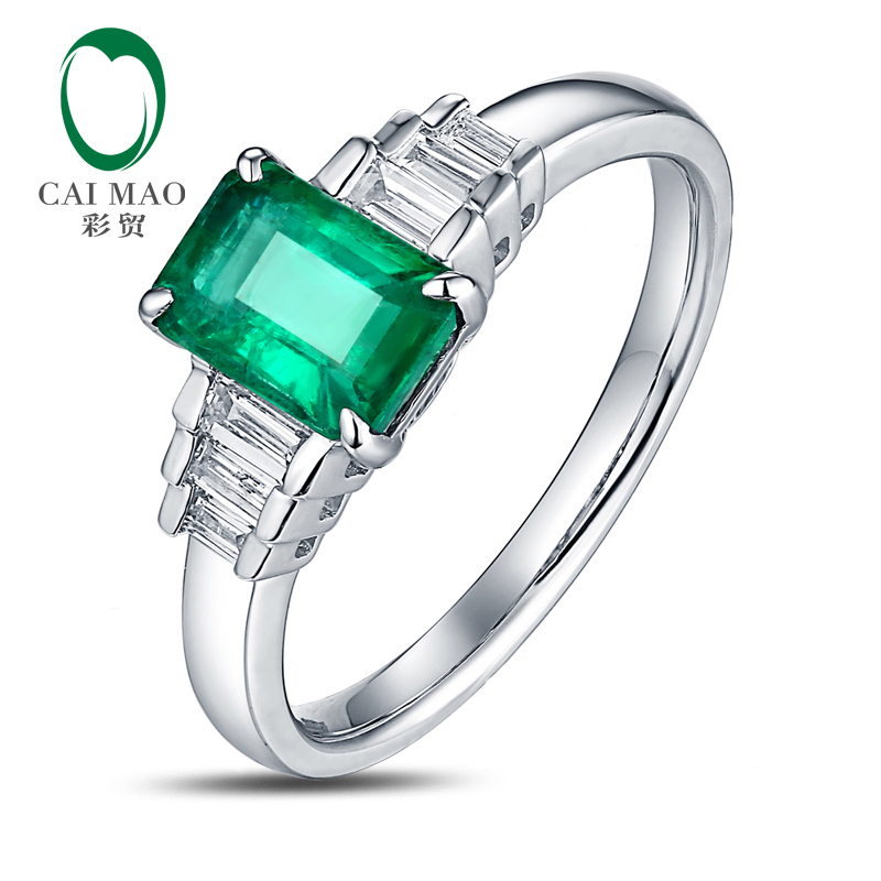 Free shipping CaiMao 1.03 ct Natural Emerald 14KT/585 White Gold 0.22 ct Baguette Diamond Engagement Ring Jewelry Gemstone caimao exquisite jewelry natural cabochon cut emerald baguette cut diamond 14kt white gold drop earrings