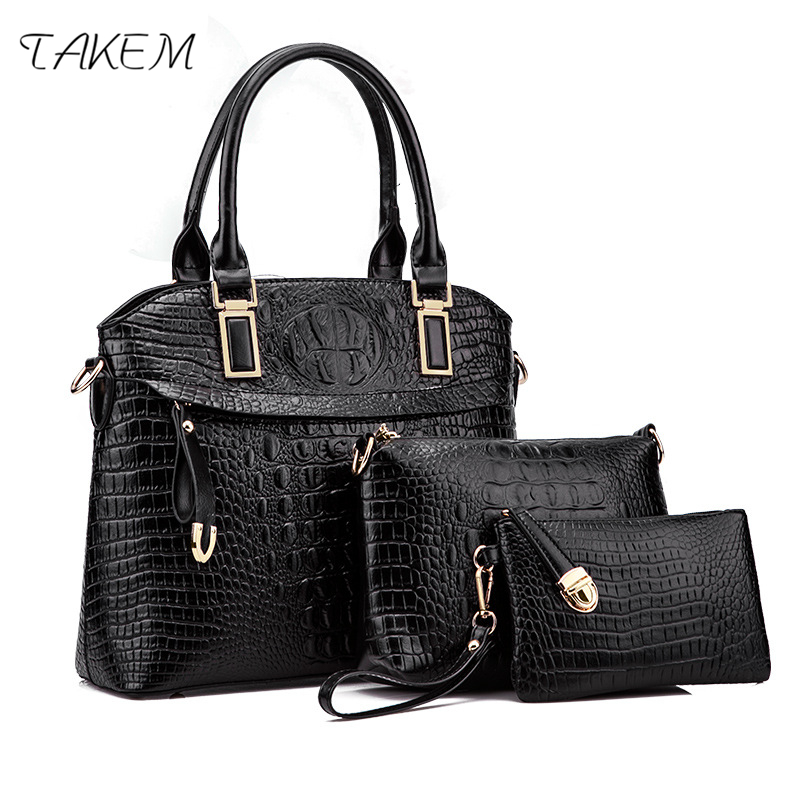 TAKEM luxury 3 pcs/set Handbags Female Bag Tassel Women Handle Solid Shoulder Bags Women Messenger Bag PU Leather Composite Bag 2018 women 3pcs set handbags pu leather shoulder bags tassel handle designer composite messenger bag casual tote bag ll408