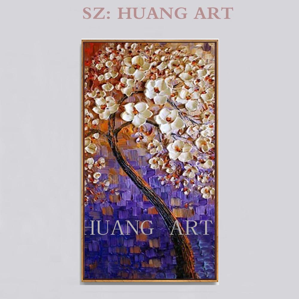 Peinture au couteau violet peint à la main de haute qualité art mural moderne peinture à l'huile d'arbre facai sur un pinceau avec des fleurs de fond bleu