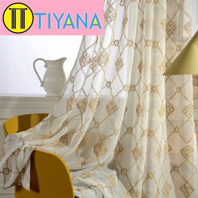 style européen blanc d'or rideau voile diamant motif rideau brodé