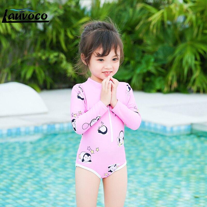 Big Size 3XL Thong Swimsuit One Piece Cute Girl Swimwear Print Long Sleeve Bodysuit Children Swimming