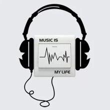 Adesivo de decalque do interruptor de headset, de caráter engraçado, música é minha vida, adesivos de parede 3ws0023