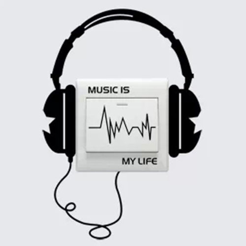 Character Funny DIY Headset Switch Sticker Decal Music Is My Life Wall Stickers 3WS0023 image
