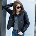 Моющиеся Все Матч Кожаная Куртка Плюс Большой Размер Женщин Осень 2016 Новый PU Пальто S-4xl Черный Панк Мотоцикл Jaqueta Де Couro