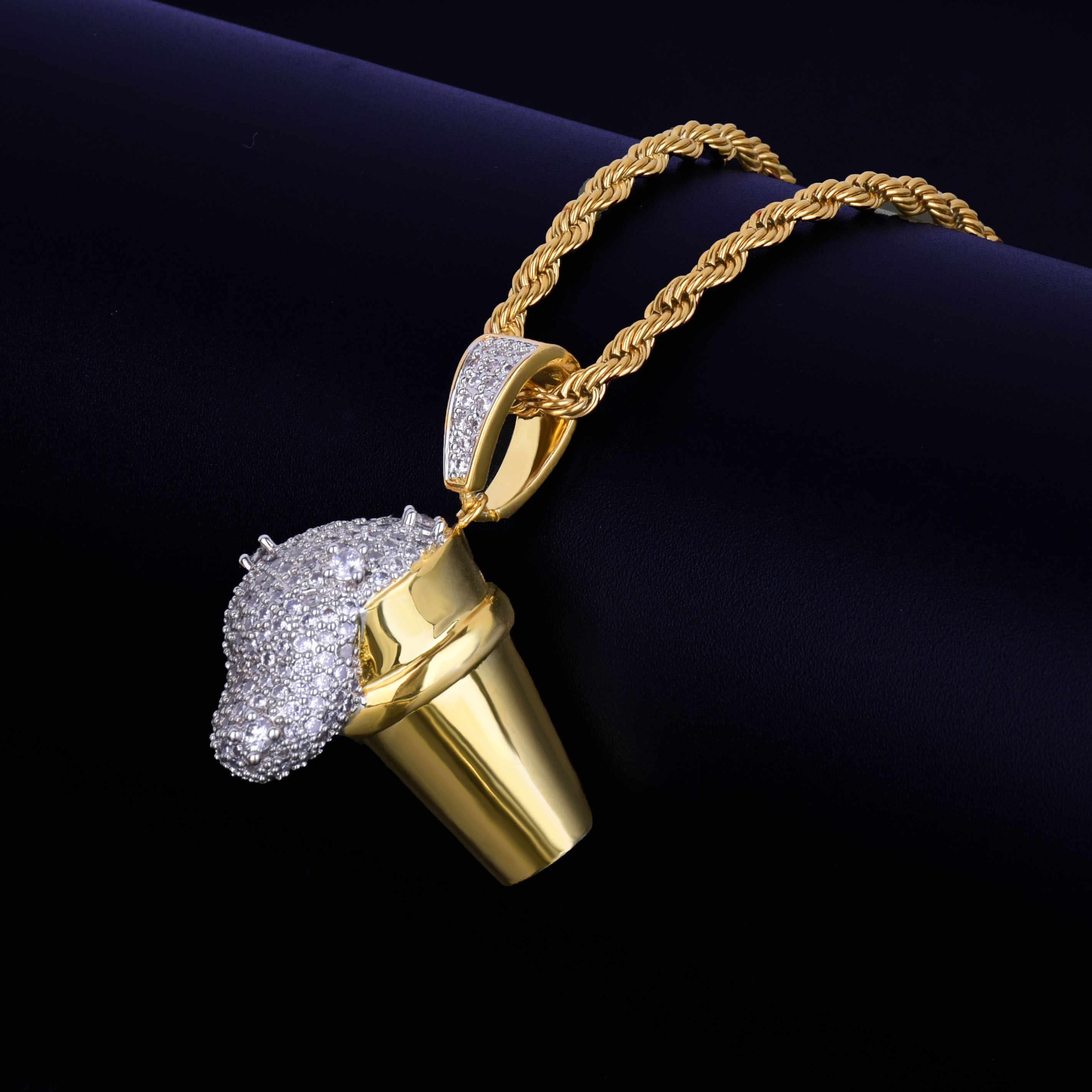 Lean złoty puchar pili Iced wisiorek naszyjnik męski bezpłatny łańcuch stalowa lina złoty kolor srebrny Cubic cyrkon Hip hop biżuteria na prezent