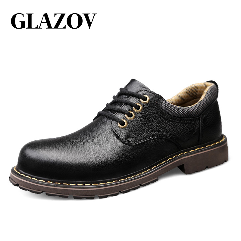 GLAZOV Brand Fashion Autumn Spring Breathable Working Shoes High Quality Genuine Leather Shoes Men Oxfords Lace-up Men Shoes
