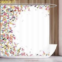 Waterproof Shower Curtain Music Decor Colorful Music Notes Frame Decorating Festival Singing Enjoyment Fashion Bathroom Decor