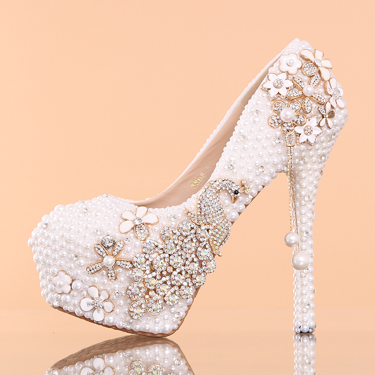 Free shipping 14cm wedding shoes crystal shoes women high heels rhinestone  high heel shoes platform pumps-in Women s Pumps from Shoes on  Aliexpress.com ... 878eed6d2a55