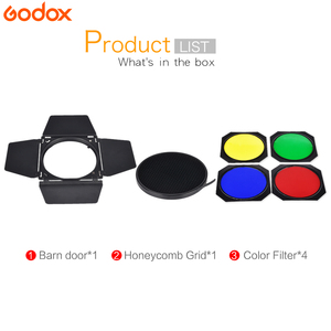 Image 2 - Godox BD 04 Barn Door+Honeycomb Grid + 4 Color Filter For Bowen Mount Standard Reflector Photography Studio Flash Accessories
