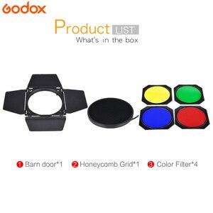 Image 2 - Godox BD 04 drzwi do stodoły + siatka o strukturze plastra miodu + 4 filtr kolorów do mocowaniem typu Bowen standardowy reflektor fotografia błyskanie studyjne akcesoria