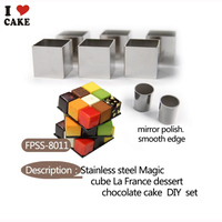 NEW Stainless steel Rubik's noble taste combination, cake tools,cake mould,25 cubes ,2 cylinders and 3 panels, from I CAKE mold