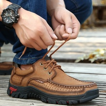 men genuine leather outdoor shoes climbing trekking cow sport hiking camping walking sneakers
