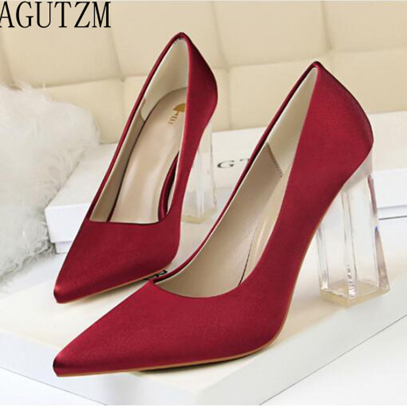 AGUTZM Woman Pumps Sexy Transparent PU Heel Wedding Shoes Women's Concise Silk Shallow High Heels Female Office Shoes V689