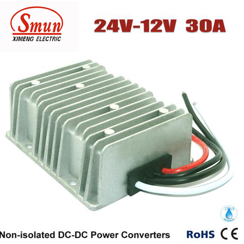 Waterproof DC DC Step Down Converter Reducer 24V to 12V 30A 360W Buck Module Car Power Converter Regulator waterproof regulator module step up dc 10v 12v 18v to dc 19v 15a 285w for solar power system voltage converter transformer