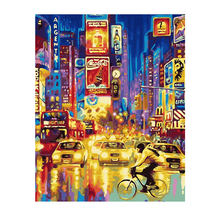 RIHE Night City Street Painting By Numbers Bridge Oil On Canvas Hand Painted Cuadros Decoracion Acrylic Paint Home Art