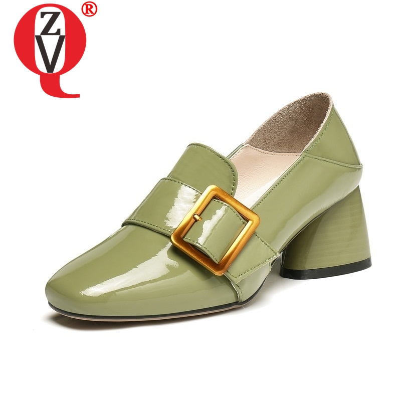 ZVQ newest woman pumps genuine leather square toe concise 6CM high heels buckle slip on convenient