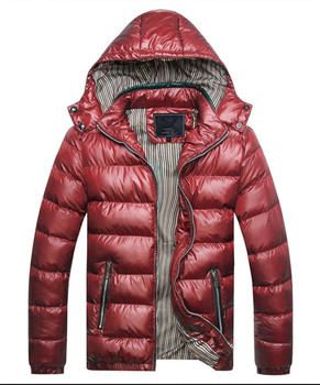 New Men's clothing autumn and winter new clothing men's wear vertical collar trim warm  solid colored coat with a hat