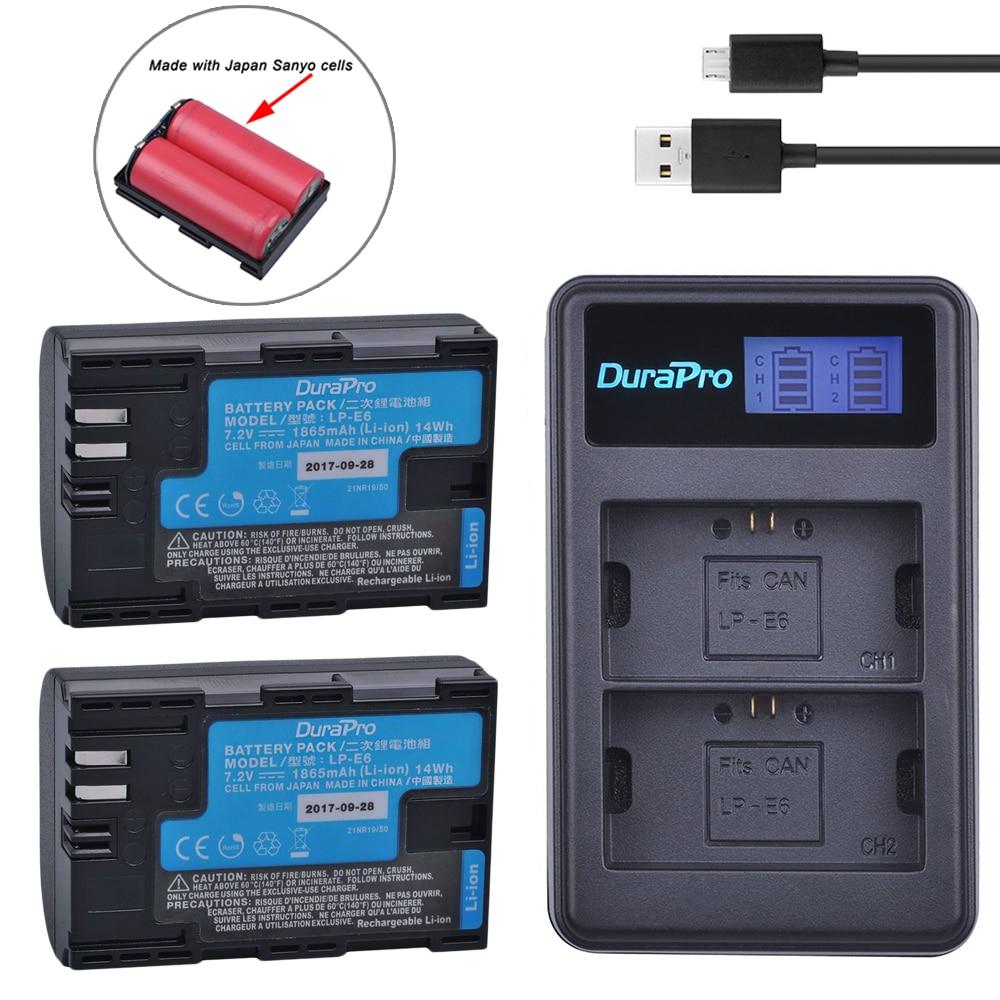 2 pc LP-E6 LP-E6N LP E6 Li-ion Rechargeable Batterie Fait Avec Japon Cellules + LCD USB Chargeur Pour Canon EOS 5D Mark II III 7D 60D 6D