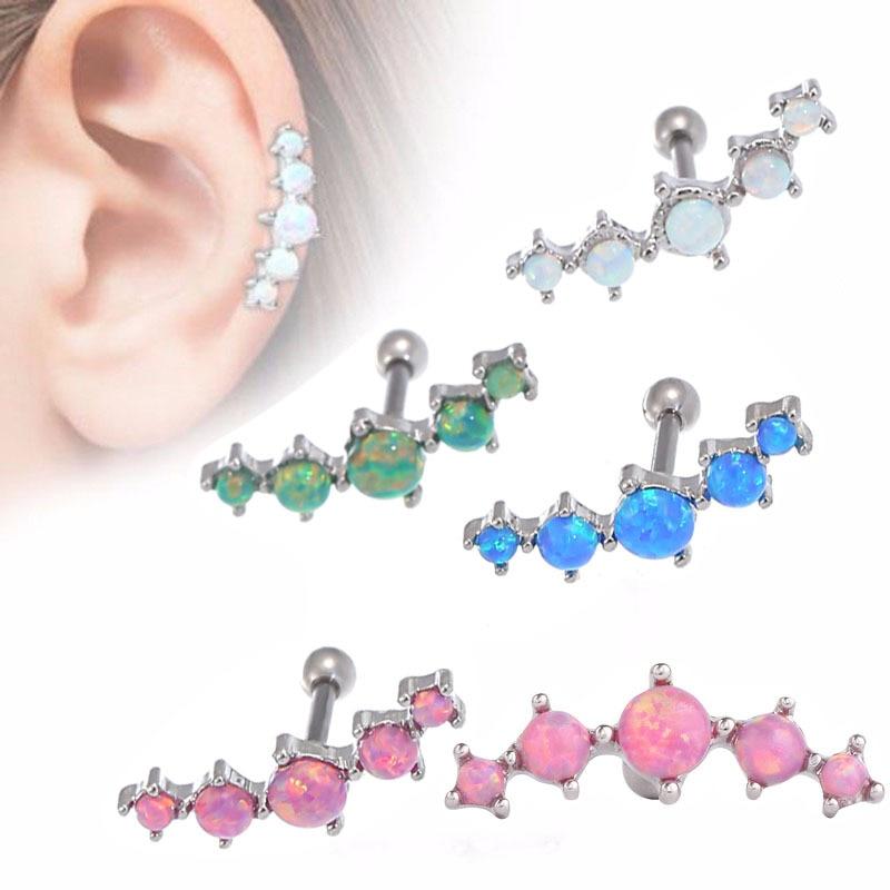 Wholesale 1 Pc Vintage Opal Earring Piercing Ring Silver 5 Shinning Opal Stone Ear Plug Tunnel Opal Ear Bone Nail New Year Gift