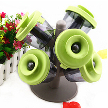 Pop-up spice rack boxes plastic tree shape seasoning pot jar 6 sealed bottles for kitchen storage green free shipping F-210