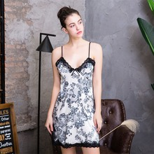 Tony&Candice Nightgown Women Sexy Sleepshirts Satin Silk Sleepwear Lady V-Neck Night Dress Sleeveless Female Home Wear Girls