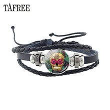 TAFREE Fashion Skull Leather Bracelet Glass Cabochon skeleton Flower Bangles Black Rope Chain Punk Jewelry Gift A623