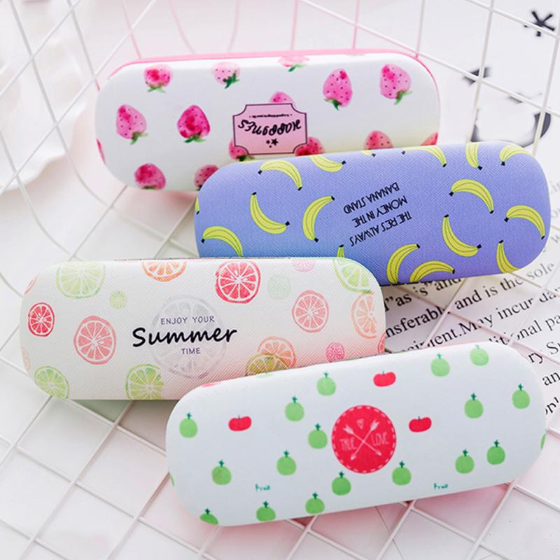 8 Colors Cute Eyewear Case Glass Protector Girls Cartoon Fruit Pattern PU Leather Glass Case Pressure-proof Eyewear Glass Box