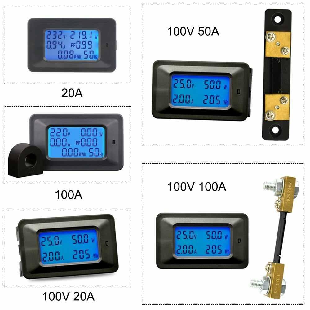 4 w 1 Mini licznik elektryczny DC/zasilanie prądem zmiennym licznik energii próbnik napięcia Monitor prądu LCD amperomierz woltomierz