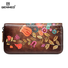 GENMEO Brand New Arrival Genuine Leather Zipper Wallet Women Coin Purse Bird Flowers and Cow Hand Strap Bolsa Feminina