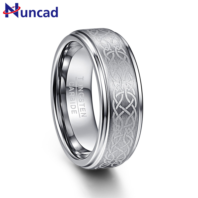Nuncad Men's 8mm Laser Celtic Knot Brushed Tungsten Carbide Wedding Band Rings Polished Step Edge Size 7-12