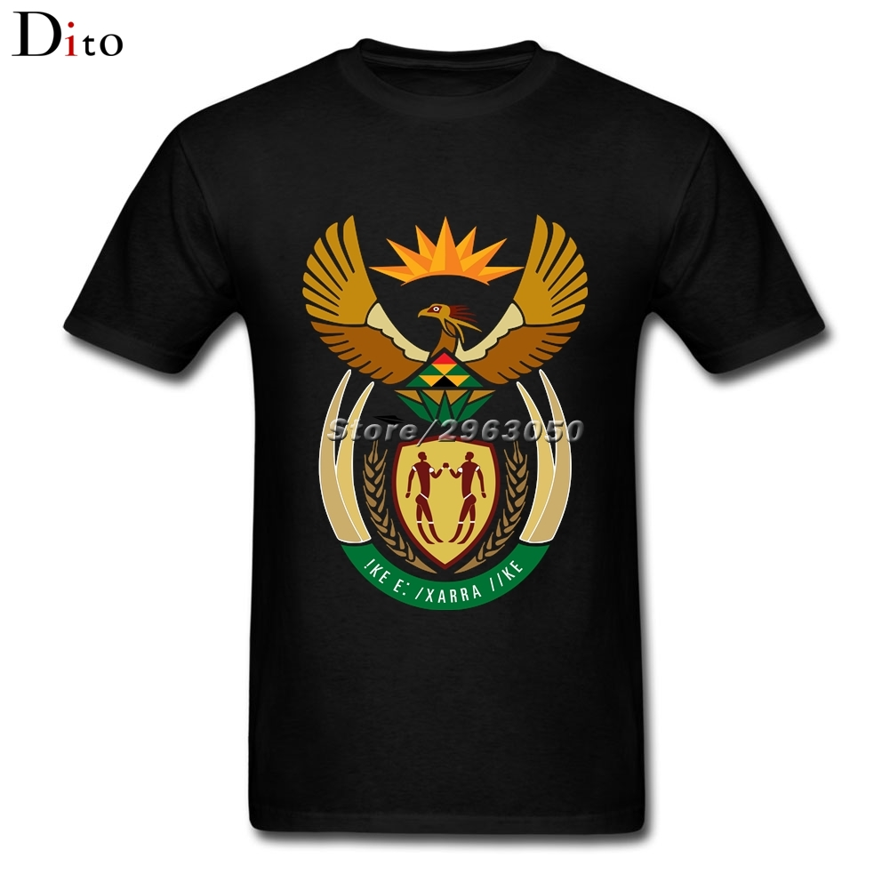 Coat of arms of South Africa T Shirt Men Boy Top Design Short Sleeve Cotton Custom Plus Size Family T-shirts