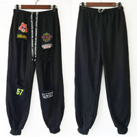 Kids Adult pants joggers Pants Letter Costumes Hollow Out Patches trousers hole Black Loose Patches Harem Hip Hop Dance Pants