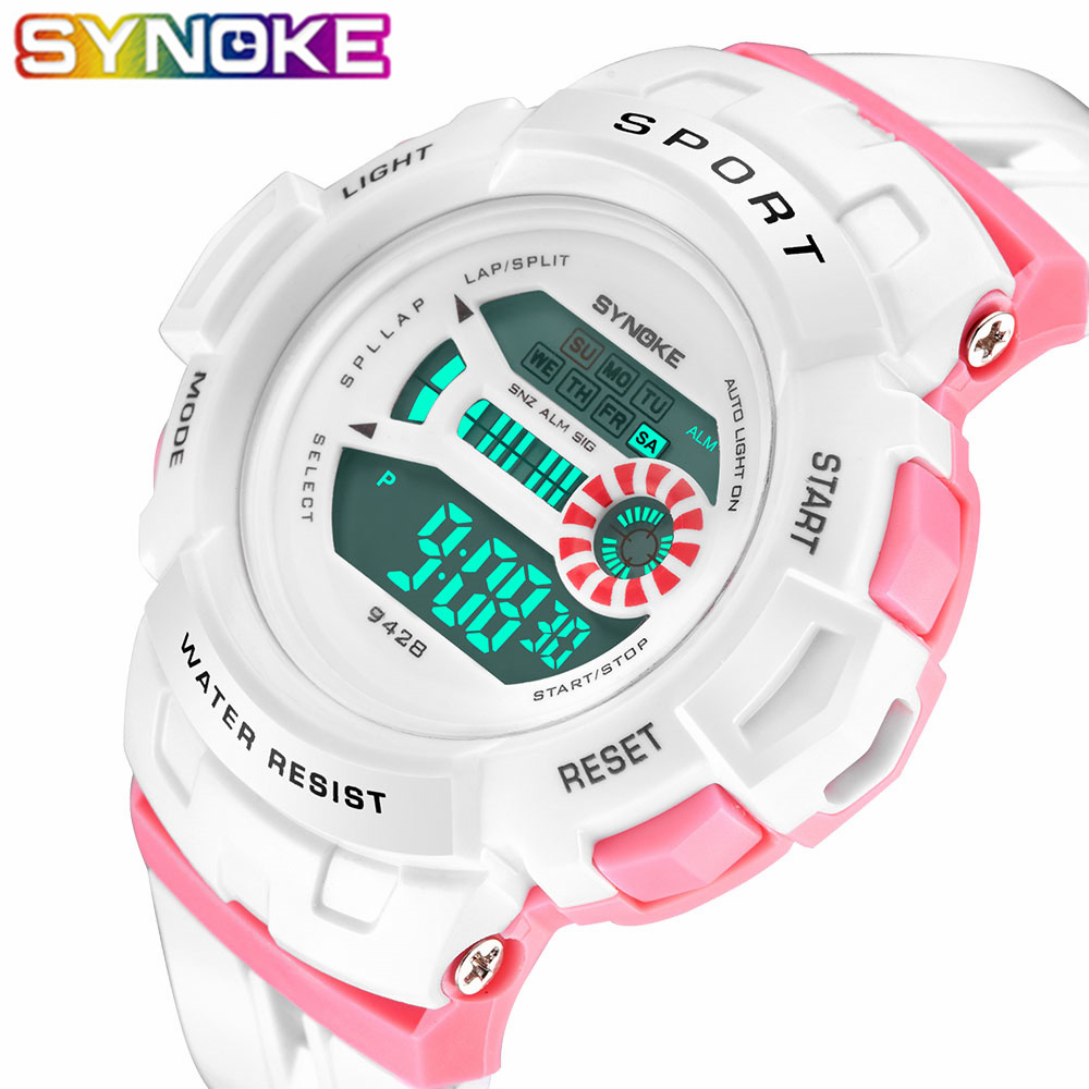 SYNOKE Children Boys Watches Fashion 30M Waterproof LED Sport Digital Watch Boys Child Kids Wristwatches For Girls Gift Watches