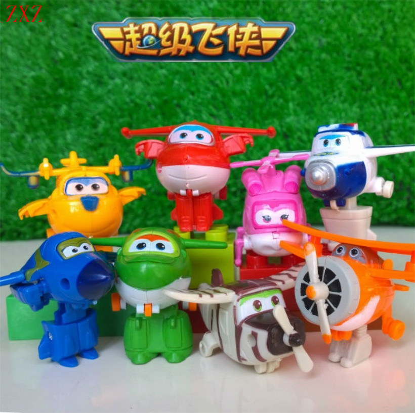 8Pcs/set MINI Anime Super Wings Model Mini Planes toy Transformation Airplane Robot Action Figures superwings toys for children 5 models 14cm jimbo super wings mini figures abs robot toys superwings q version cute mini airplane robot for birthday gifts