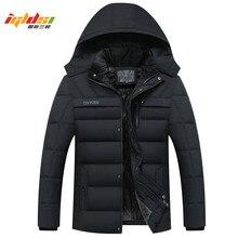Для мужчин зимняя куртка-пуховик толстые теплые флисовые пальто 2018 новый модный пэчворк Для мужчин пальто с капюшоном Для мужчин вниз парки Пальто XL-4XL