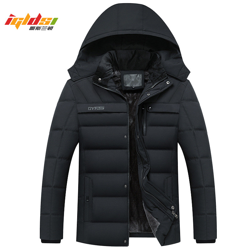 Men Winter   Down   Jacket Thick Warm Fleece   Coats   2018 New Fashion Patchwork Men's   Coat   Hooded Men   Down   Parkas Outwear   Coat   XL-4XL